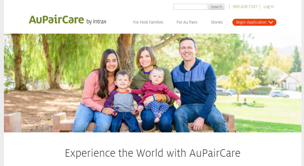 página inicial da au pair care